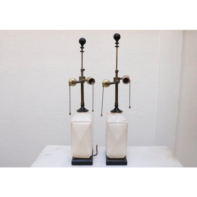 Chinoiserie Petite Antique Craquelure Lamps, a Pair For Sale - Image 3 of 8
