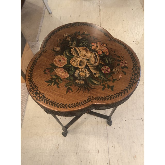 Shamrock Shaped Wood and Metal End Table With Floral Decoration For Sale In Philadelphia - Image 6 of 8