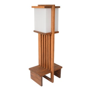 Vintage 1970s Frank Lloyd Wright Style American Mission Floor Lamp For Sale