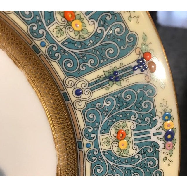 Ceramic Hand Enameled Blue and Gold Dinner Service Plates - Set of Eleven For Sale - Image 7 of 12