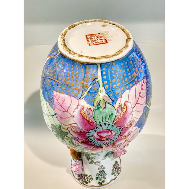 Tobacco Leaf Vase With Applied Flowers For Sale In Kansas City - Image 6 of 8