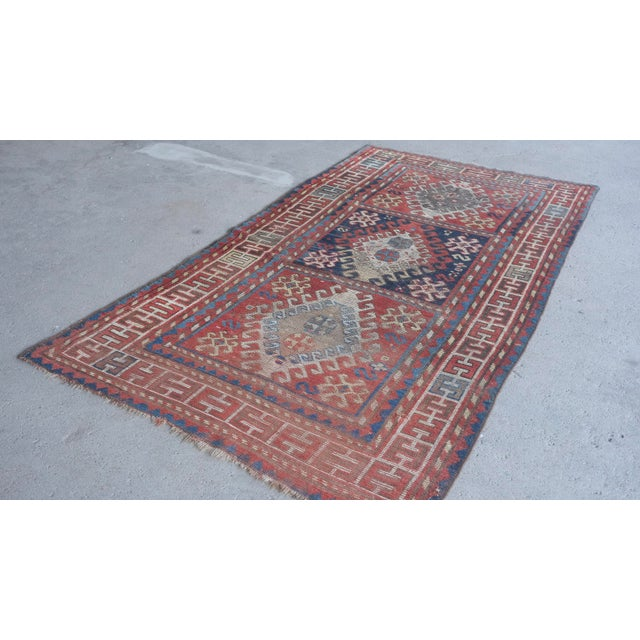 "Antique Distressed Caucasian Kazak - 3'9""x7'6"" For Sale In New York - Image 6 of 9"