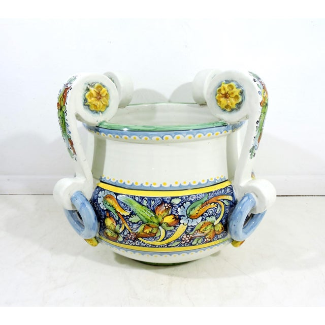 Traditional Large Italian Caltagirone Ceramic Jardiniere or Planter For Sale - Image 3 of 10