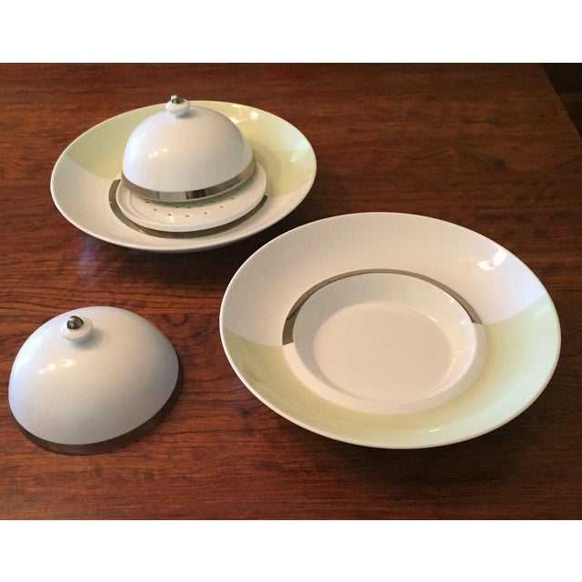 "Exquisite, unique and exceedingly rare, a full twelve-setting 10-piece set of Bernardaud Fusion ""Color"" dinnerware with..."