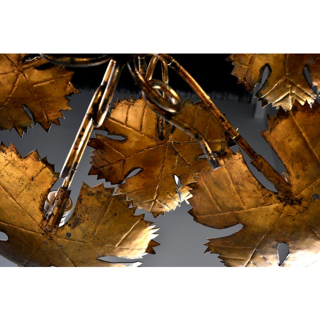 Gold Spanish Gilt Metal Leaf Form Five Light Hanging Fixture For Sale - Image 8 of 13