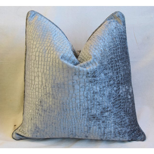 """Early 21st Century Gray/Silver Crocodile Alligator Textured Feather/Down Velvet Pillows 23"""" Square - Pair For Sale - Image 5 of 12"""