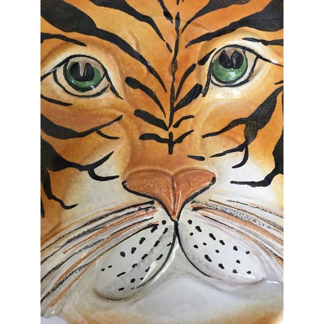 Green Mid Century Italian Hand Painted Striped Tiger Platter For Sale - Image 8 of 13