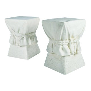 Roped Drapery Pedestal Occasional Tables - a Pair For Sale
