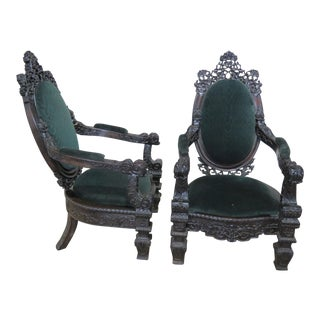 Early 20th Century Victorian Rosewood Armchairs- A Pair For Sale