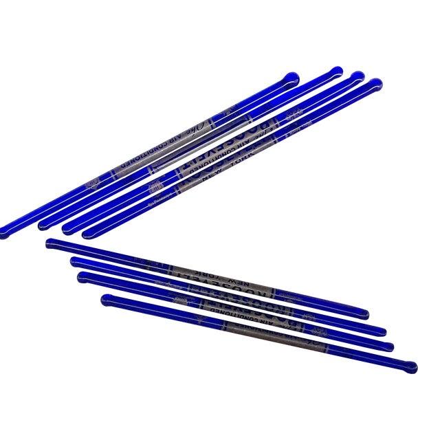 Cobalt Blue Glass Roosevelt Hotel New York Swizzle Cocktail Sticks - Set of 8 For Sale