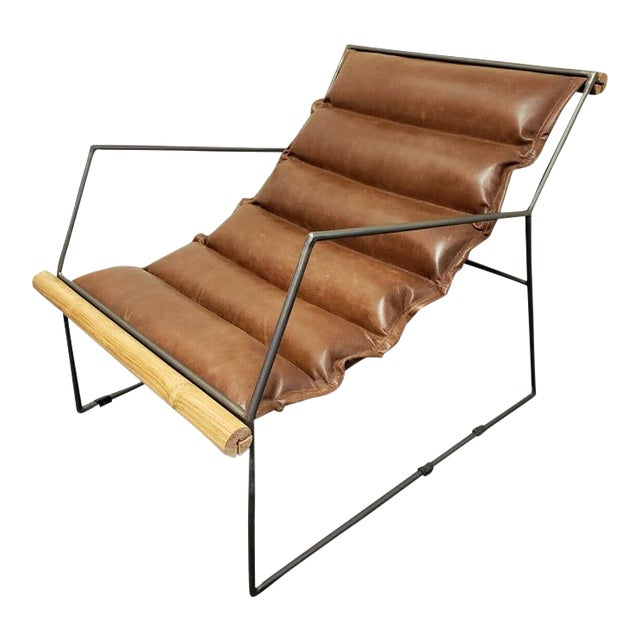 Modern Mid Century Style Brown Leather Amp Metal Sling Chair