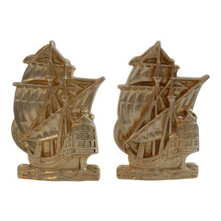 Vintage Brass Ship Bookends - a Pair For Sale