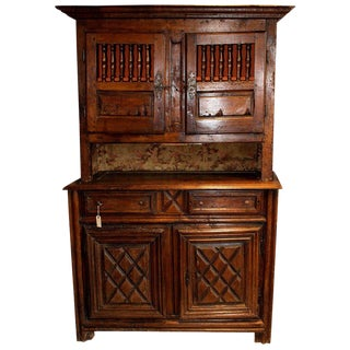 19th Century French Walnut 4 Door Cabinet For Sale