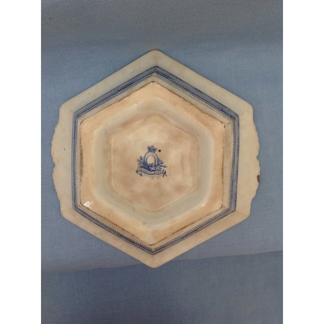 Antique Blue and White Transferware Dish With Lid For Sale - Image 11 of 13