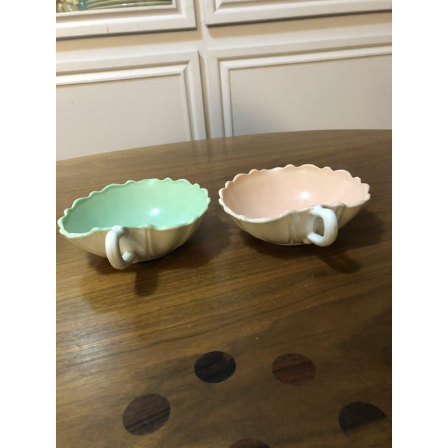 Anchor Hocking 1940s Vintage Fire King Vitrock Pink and Green Candy Dishes - a Pair For Sale - Image 4 of 6
