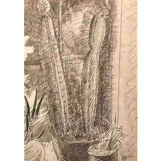 2001 Cactus and Houseplants Still Life Drawing by En Grisaille For Sale