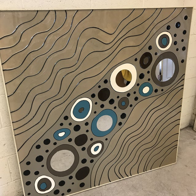 Gray Contemporary Modern Geometric Art on Board For Sale - Image 8 of 10
