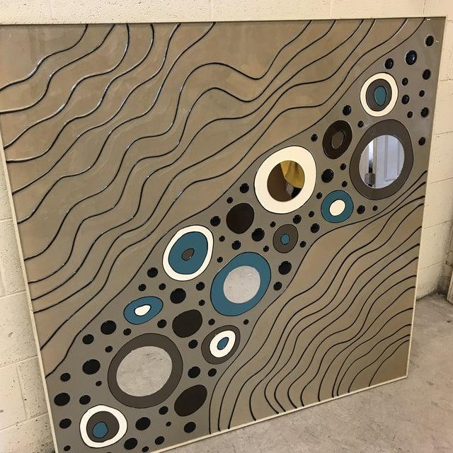 Blue Modern Geometric Art on Board For Sale - Image 8 of 10