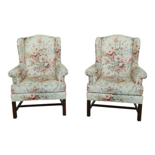 1980s Steadman House Chippendale Cherry Wingback Easy Chairs - a Pair For Sale