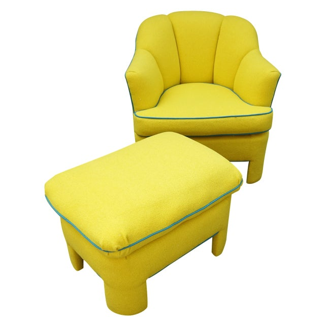 Vintage 80s Yellow Club Chair & Ottoman - Image 1 of 8