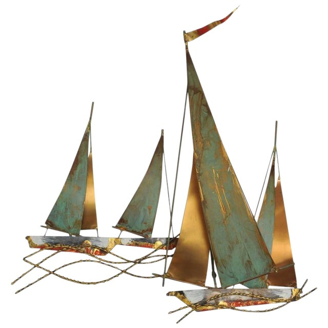 Signed Curtis Jere` Brutalist Period Sailboat Wall Sculpture, 1969 For Sale