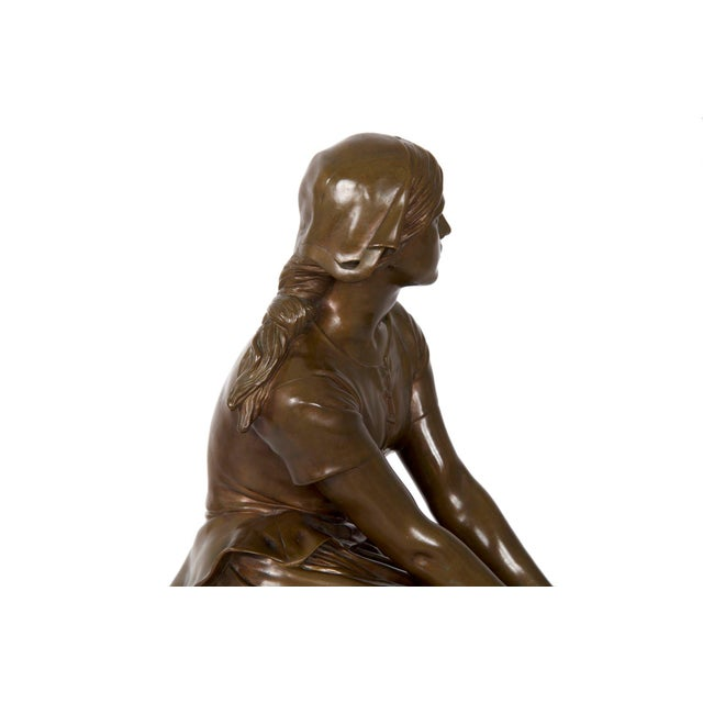 """Antique French Bronze Sculpture """"Joan of Arc"""" After Henri Chapu by Barbedienne For Sale - Image 11 of 13"""