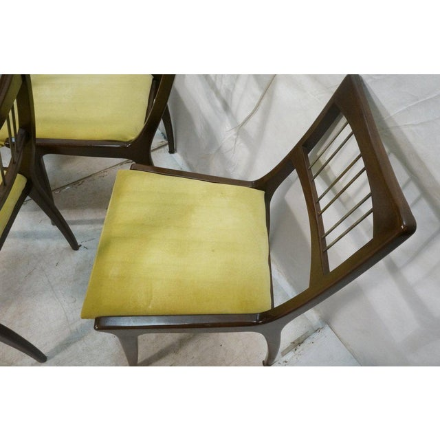 Set of 6 Lane Mid-Century Modernist Walnut Dining Chairs W Metal Rods and Brass Sabots For Sale In Los Angeles - Image 6 of 9
