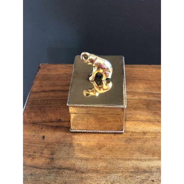 Boho Chic Vintage Elephant Brass Box For Sale - Image 3 of 10