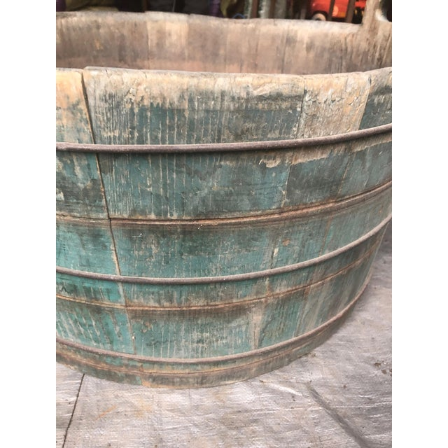Distressed Country Washing Barrel Tub and Stand For Sale - Image 9 of 13