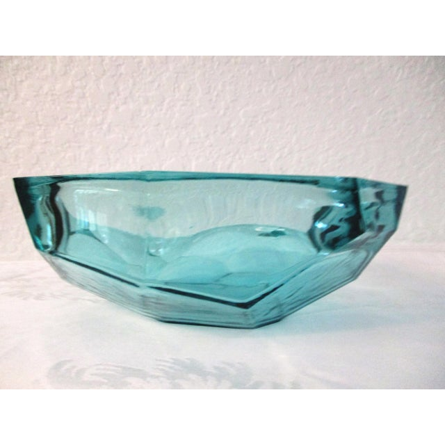 Kunstglas Burger Style Aqua Faceted Glass Bowl - Image 3 of 5