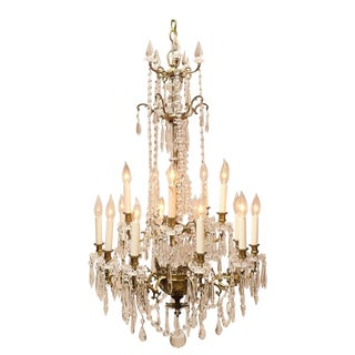 Napoleon III Fifteen-Light Gilt Brass and Crystal Chandelier For Sale