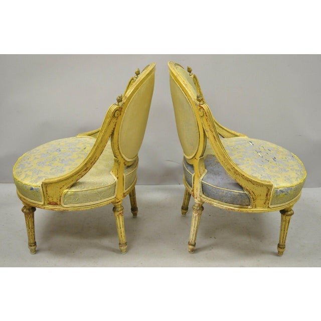 Vintage French Louis XVI Style Low Petite Boudoir Small Hiprest Chairs - a Pair For Sale - Image 12 of 13