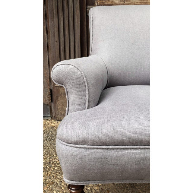 Mid 19th Century Linen Upholstery French Scroll-Back Armchair For Sale - Image 5 of 13