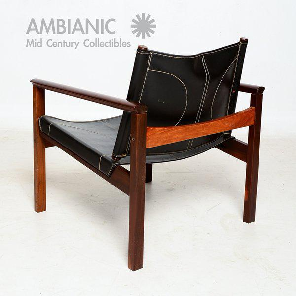 Michel Arnoult Pair of Leather & Rosewood Michel Arnoult Safari Armchairs For Sale - Image 4 of 9