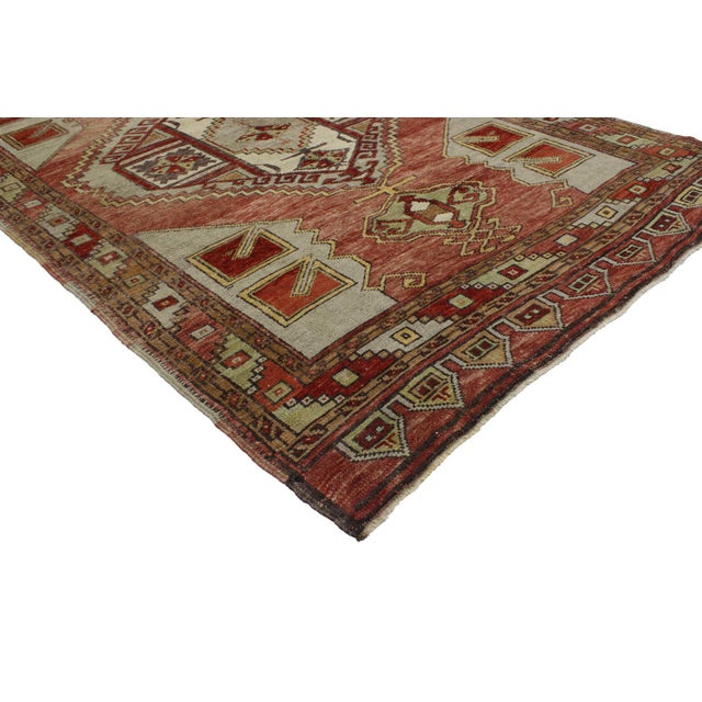51799 Vintage Turkish Oushak Gallery Rug with Craftsman Style, Wide Hallway Runner 05'00 x 12'00. This hand knotted wool...