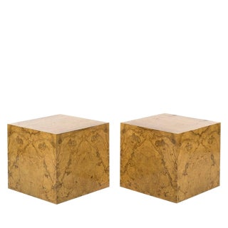 Pair Milo Baughman Burl Wood Cube Side Tables For Sale