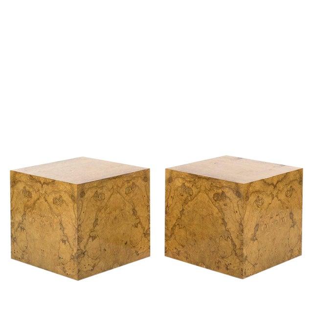 Pair Milo Baughman Burl Wood Cube Side Tables For Sale