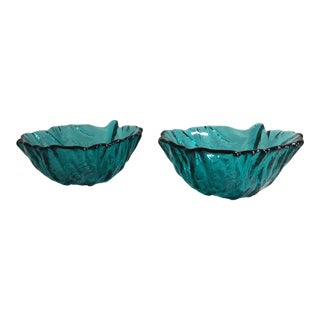 Blenko #838s Leaf Bowls in Antique Green - a Pair For Sale
