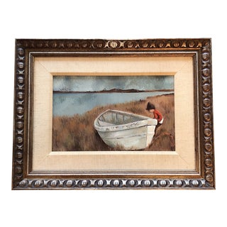 Mid Century Original Painting Boy With Boat Signed For Sale