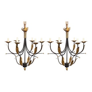 Pair of Mid Century Spanish Iron and Gilt Metal Six Light Chandeliers For Sale