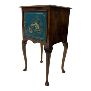 Jacobean Bedside Table With Blue Chinoiserie Door For Sale