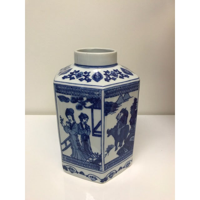 Chinoiserie Blue and White Hex Ginger Jar - Image 3 of 3