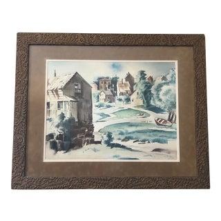 Beautiful Modern 1935 Watercolor by Earl Horter For Sale