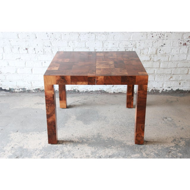 Paul Evans for Directional Patchwork Burl Wood Parsons Extension Dining Table For Sale - Image 10 of 13