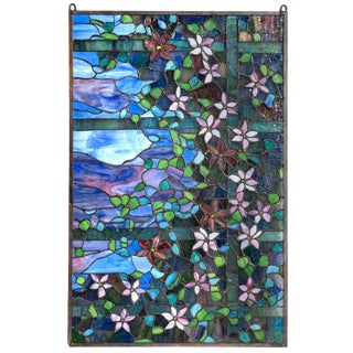 Stained Glass Panel, Flowers on a Trellis For Sale