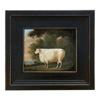 "Sheep Under Tree Framed Oil Painting Reproduction Print on Canvas - 5"" X 6"" For Sale"