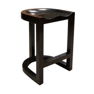 Saddle Counter Stool, Hand Rubbed Black For Sale