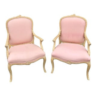 1970s Vintage Faux Bois Wooden Carved Chairs- a Pair For Sale