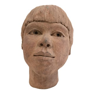 1970's Terra Cotta Sculpture of a Boy's Head For Sale