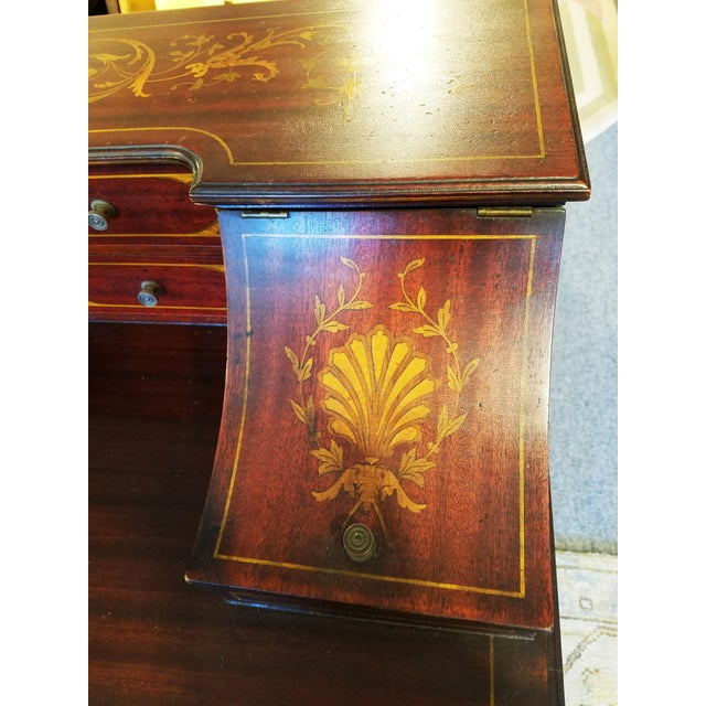 Edwardian Style Mahogany & Satinwood Ladies Desk For Sale - Image 4 of 10